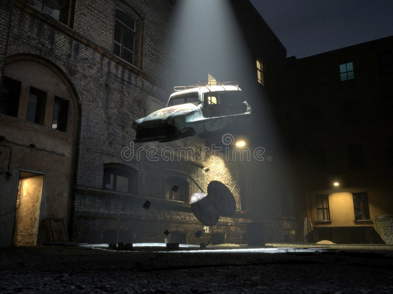 Alien abduction / recycling. A ufo beams home an old car wreck in the night vector illustration