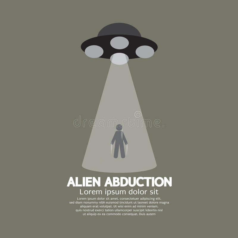 Alien Abduction With UFO Spaceship stock illustration