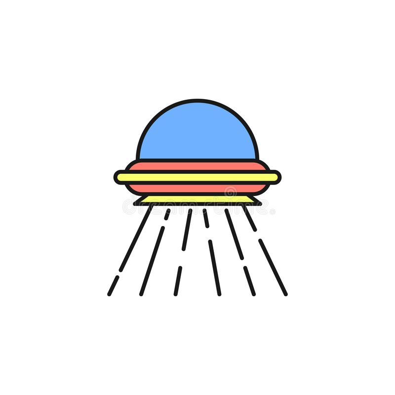 alien aircraft icon. Element of space outline color icon. Thin line icon for website design and development, app development. vector illustration