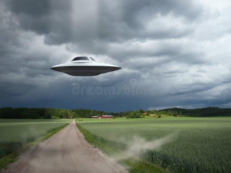Alien aircraft UFO landing royalty free stock photos
