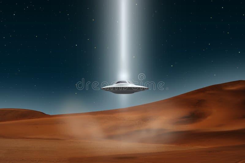 Alien aircraft ufo landing desert. Alien aircraft ufo landing in the middle of the desert royalty free illustration