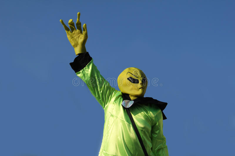 Alien. S - green men arrived on our planet Earth royalty free stock photo