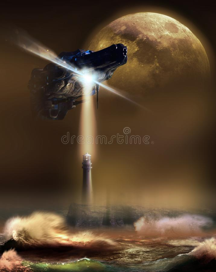 Alien answering to call. Appalling alien spaceship, under a big moon, arriving above a lighthouse on the coast, as it was answering to a human call stock illustration
