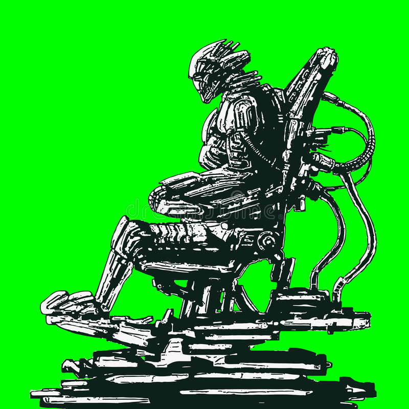 Alien astronaut sits in suit on iron chair. Vector illustration. stock image