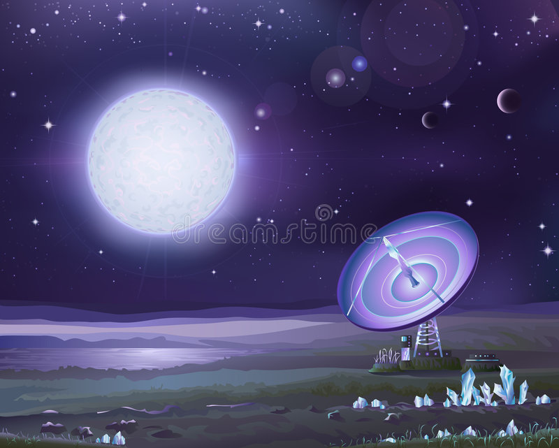 Alien astronomy stock illustration