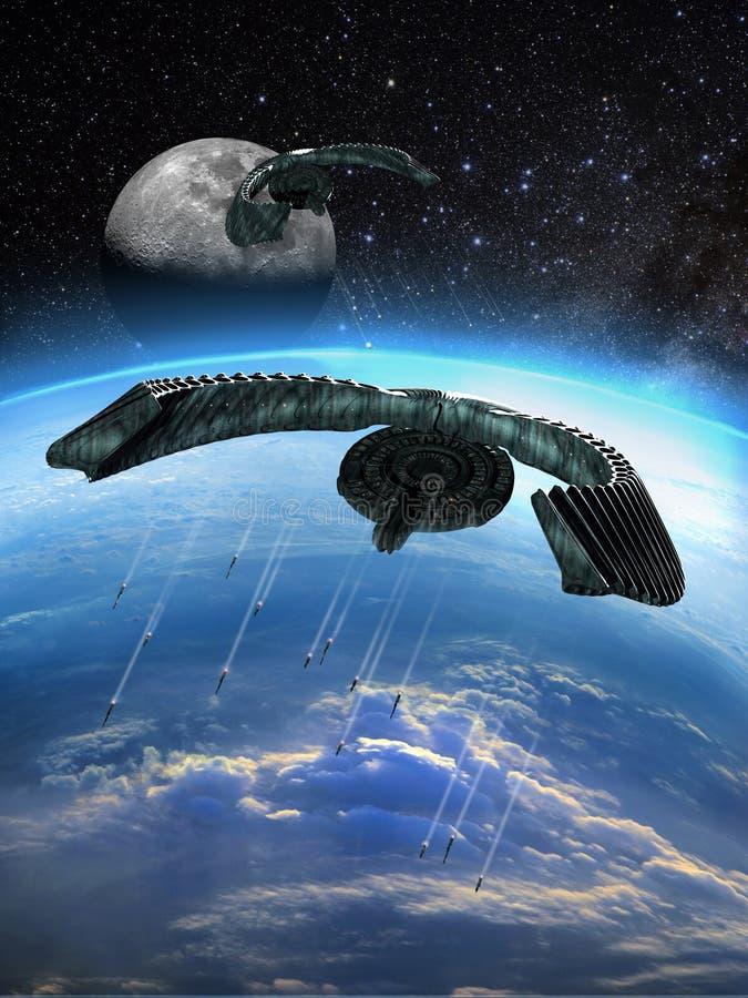 Download Alien attack stock illustration. Image of engine, flying - 26952106