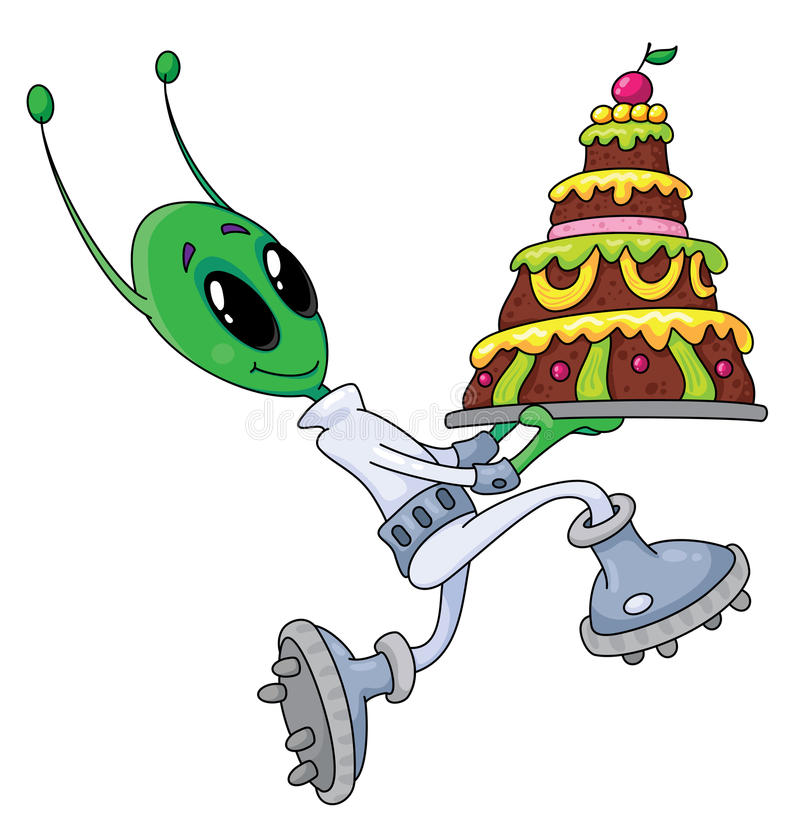 Alien with cake stock illustration