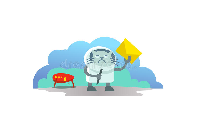 Alien cat in spacesuit arrived on rocket and brought letter postman. Funny news subscription email vector illustration