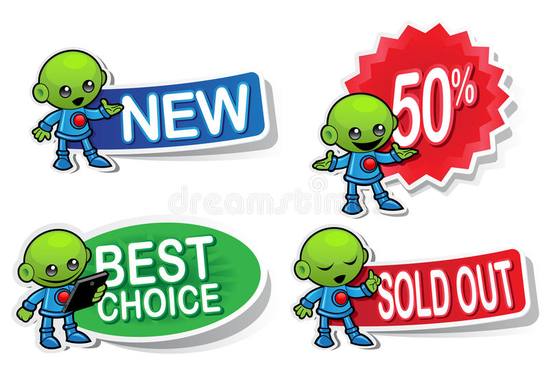 Alien Character Selling Stickers Royalty Free Stock Image
