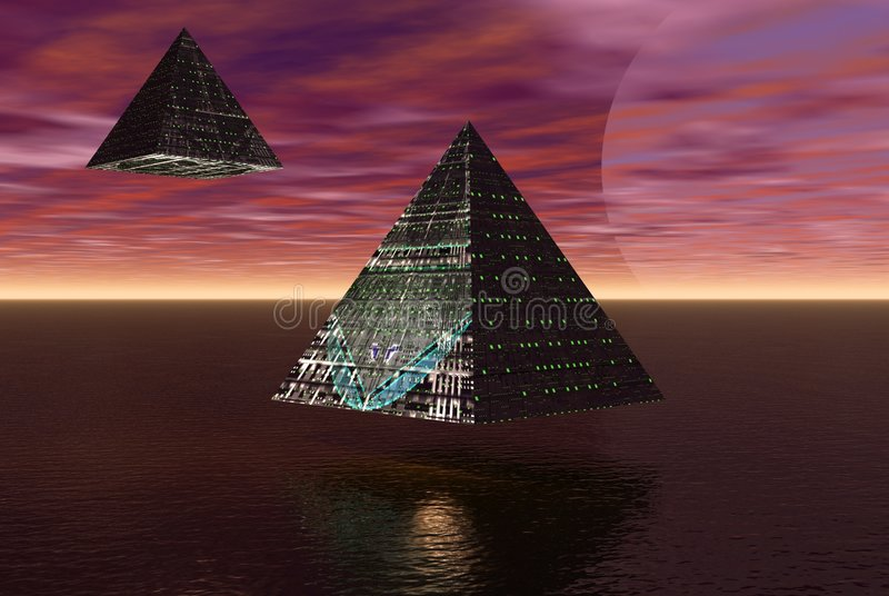 Alien cities flying royalty free stock image