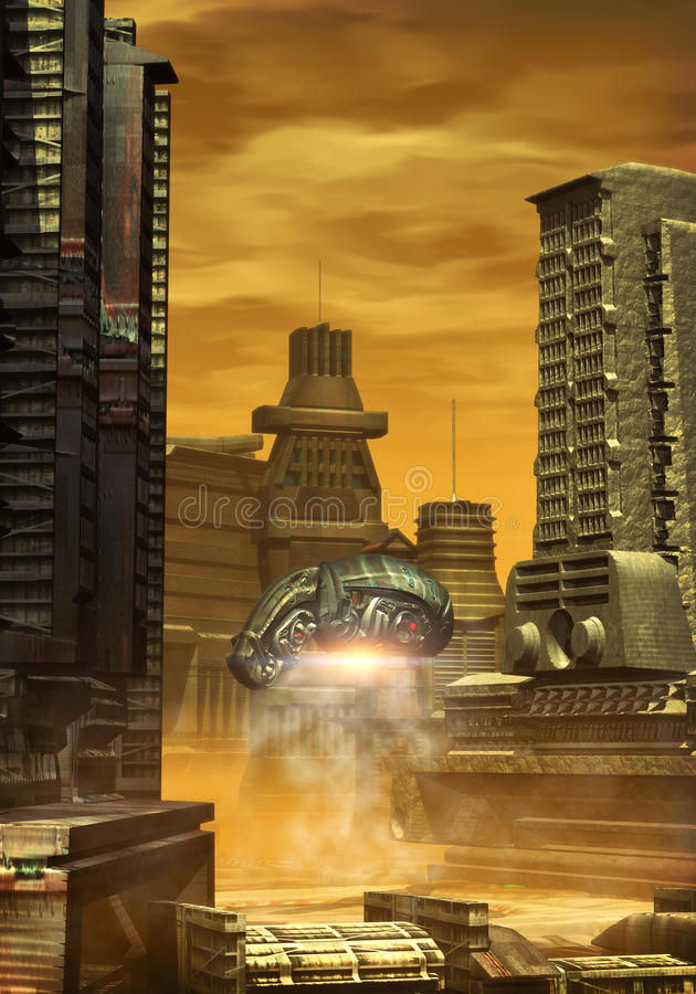 Alien city vector illustration