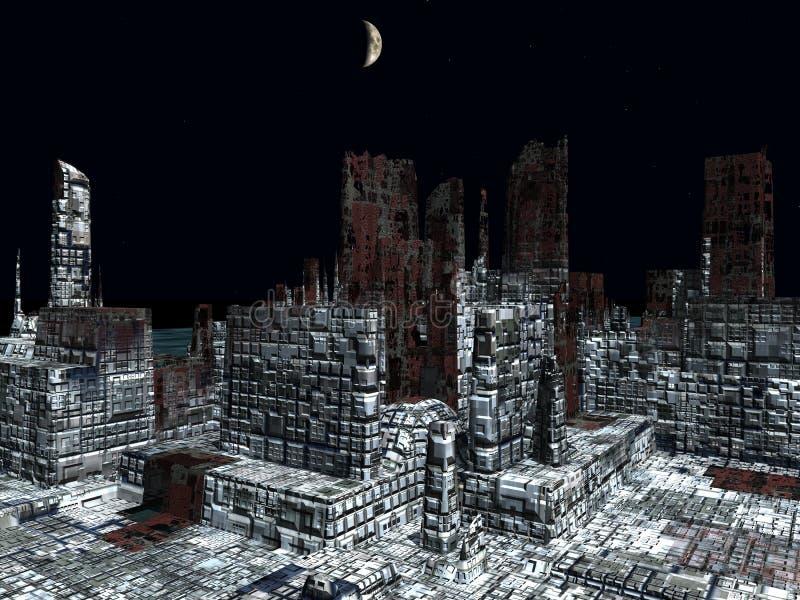 Alien City - fantasy urban structures 3d rendering. Alien City - fantasy urban structures royalty free illustration