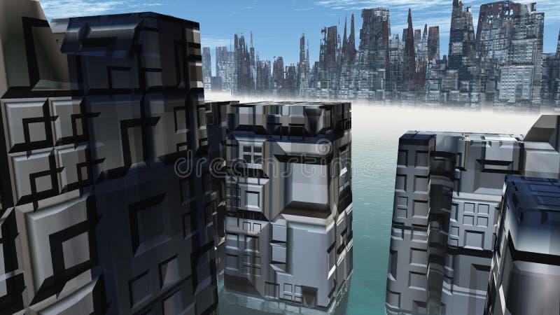 Alien City - fantasy urban structures 3d render. Alien City - fantasy urban structures vector illustration