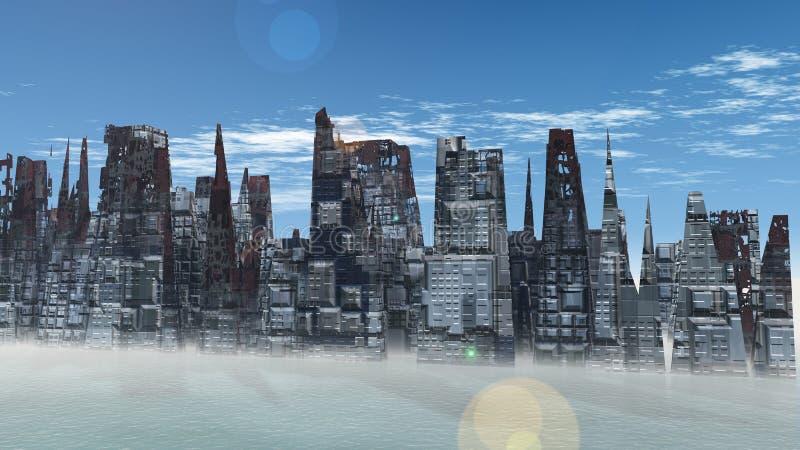 Alien City - fantasy urban structures 3d render. Alien City - fantasy urban structures stock illustration