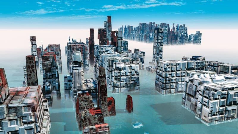 Alien City - fantasy urban structures 3d render. Alien City - fantasy urban structures royalty free illustration