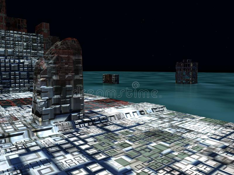 Alien City - fantasy urban structures 3d rendering. Alien City - fantasy urban structures vector illustration