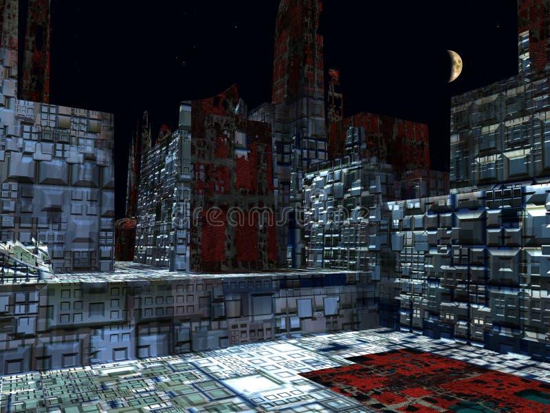 Alien City - fantasy urban structures 3d rendering. Alien City - fantasy urban structures stock illustration