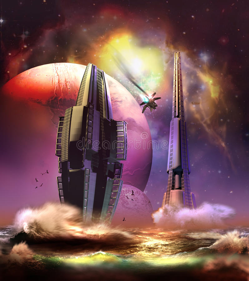 Alien City on the Sea. City on the sea, on a far planet. A shuttle in flames crossing the sky vector illustration