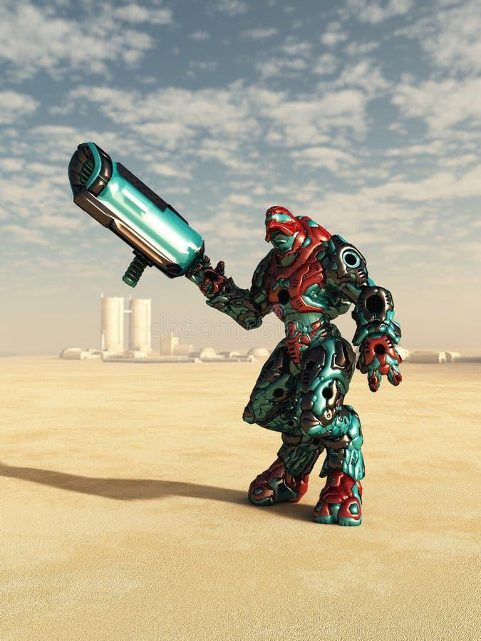 Alien Combat Droid in the Desert vector illustration