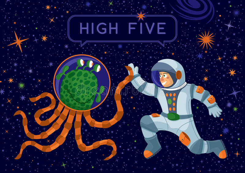 Alien And Cosmonaut Making High Five royalty free illustration
