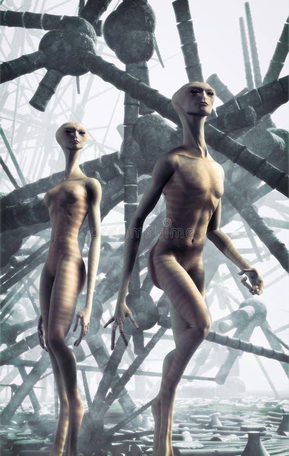 Alien couple vector illustration