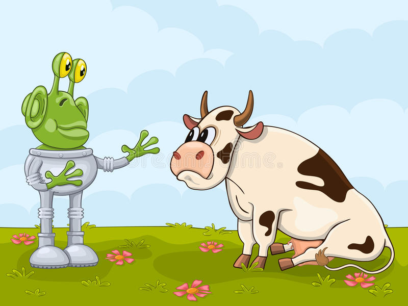 Alien and cow meeting stock illustration