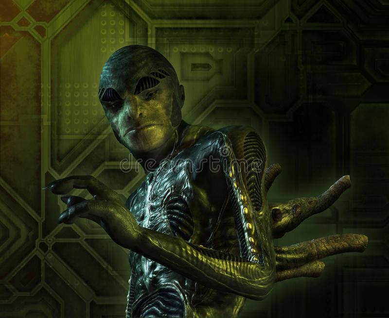 Alien Creature Portrait stock illustration