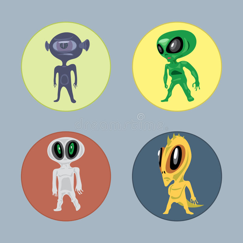 Alien creatures and monsters set flat style. stock illustration