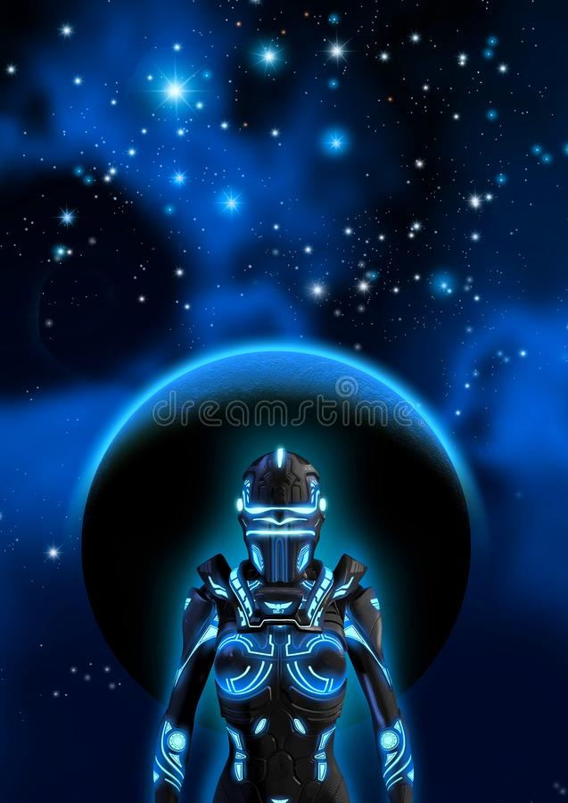 Alien cyborg in a dark sky, in the background a planet, a nebula and many bright stars, 3d illustration vector illustration