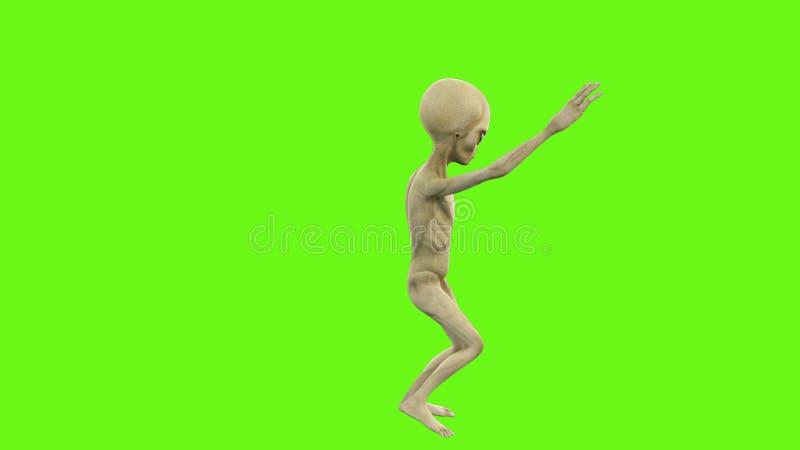 Alien dancing on green screen.  stock photo