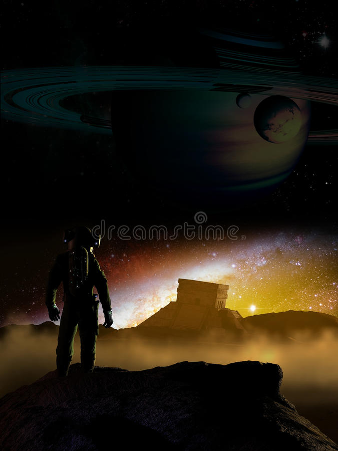 Alien discovery. Cosmonaut exploring an alien planet and discovering a pyramid like that of mayan civilization. Vertical version vector illustration