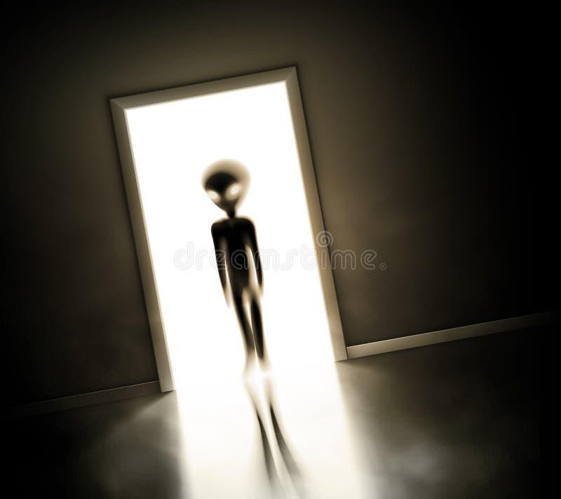 Alien at door stock illustration