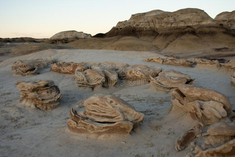 The Alien Egg Hatchery at Bisti Badlands Wilderness Area New Mexico. The deserts scape at the Bisti Badlands Wilderness Area in northern New Mexico. The Alien stock photography