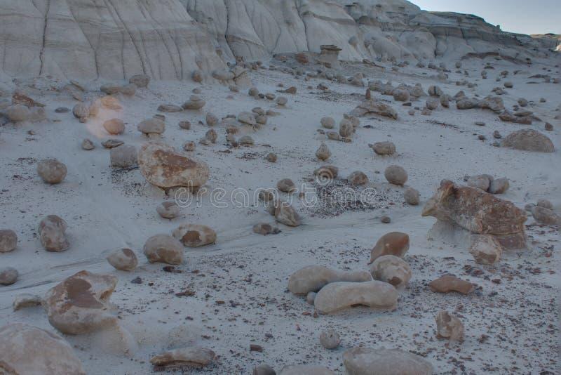 The Alien Egg Hatchery at Bisti Badlands Wilderness Area New Mexico. The Rock Garden  the Bisti Badlands Wilderness Area in northern New Mexico. The Rock Garden royalty free stock image