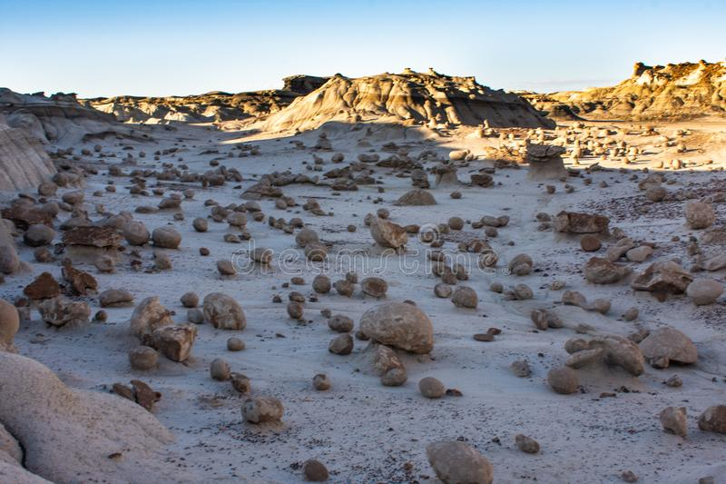 The Alien Egg Hatchery at Bisti Badlands Wilderness Area New Mexico. The Rock Garden  the Bisti Badlands Wilderness Area in northern New Mexico. The Rock Garden stock images
