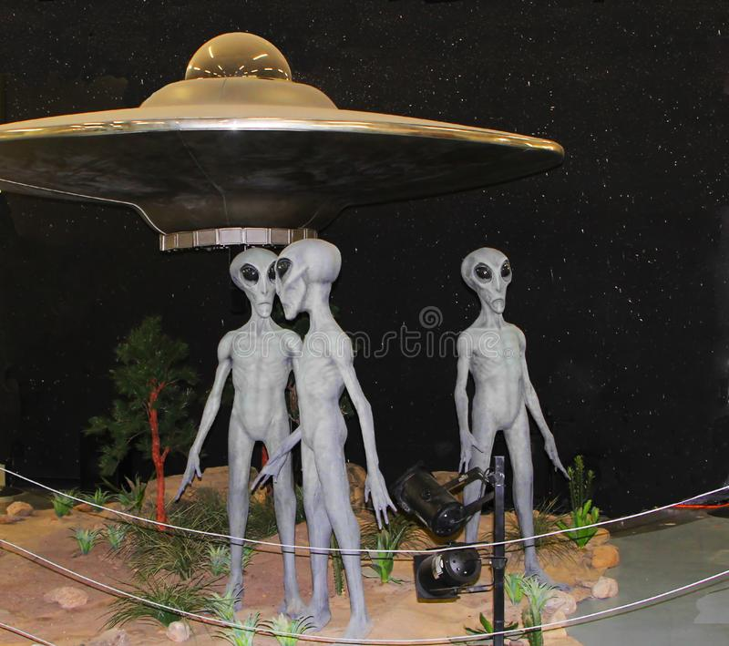 Alien exhibit at International UFO Museum and Research Center in Roswell stock photos
