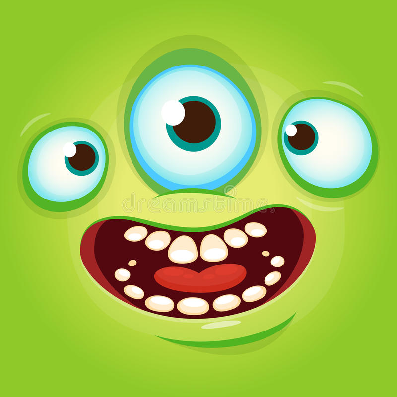 Alien face cartoon creature avatar illustration vector stock. Prints design for t-shirts. Alien face cartoon creature avatar illustration vector stock. Prints stock illustration
