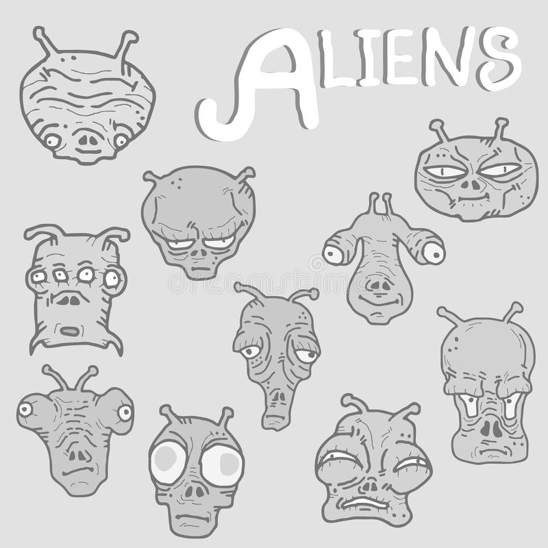 Alien faces collection royalty free illustration