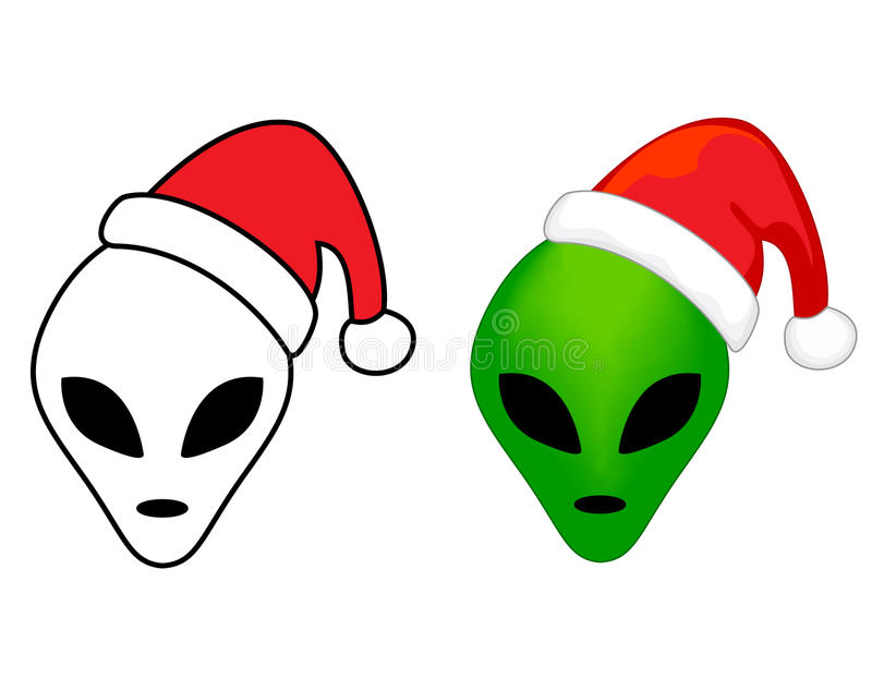 Alien faces with santa hat royalty free illustration