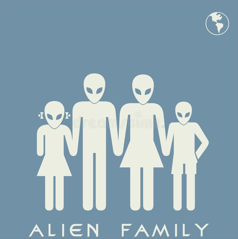 Download Alien family stock vector. Image of space, symbols, stylized - 2132996