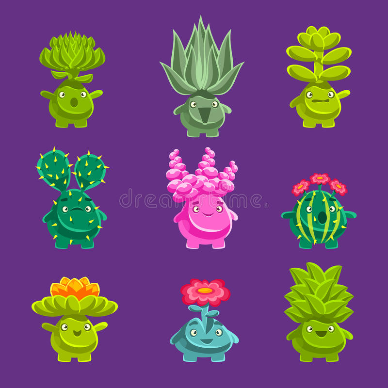 Alien Fantastic Plant Characters With Succulent Vegetation And Humanized Root With Friendly Faces Emoji Stickers vector illustration