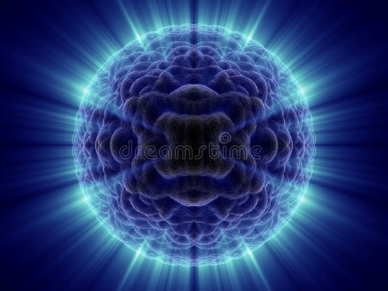 Alien fantasy unknown micro cell with blue shines. In black background stock illustration