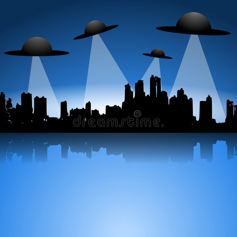Alien Flying Saucers UFO Invasion royalty free stock photos
