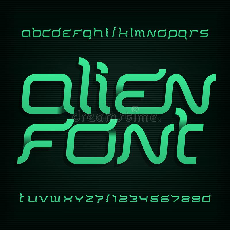 Alien font. Abstract alphabet typeface. Fancy type letters and numbers. Vector typography for your design vector illustration