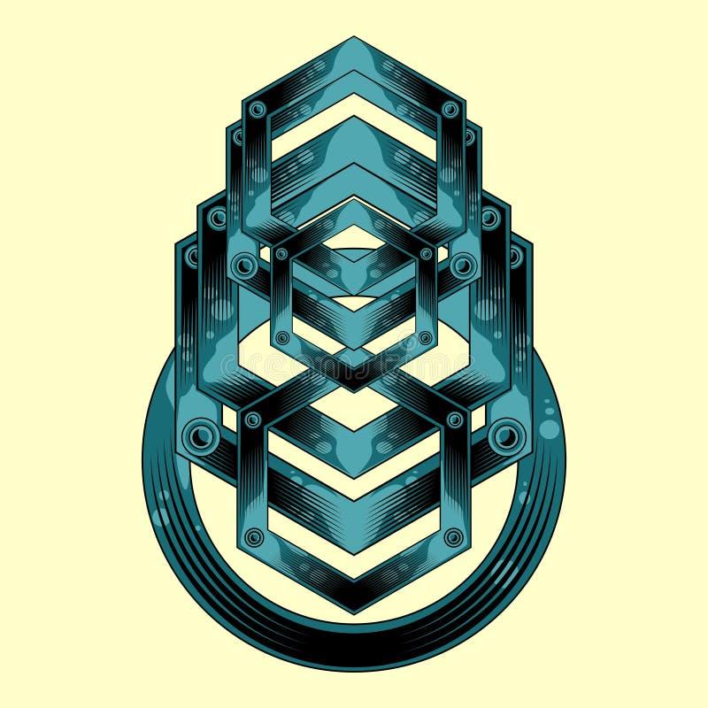 Alien geometry metal emblem stock illustration