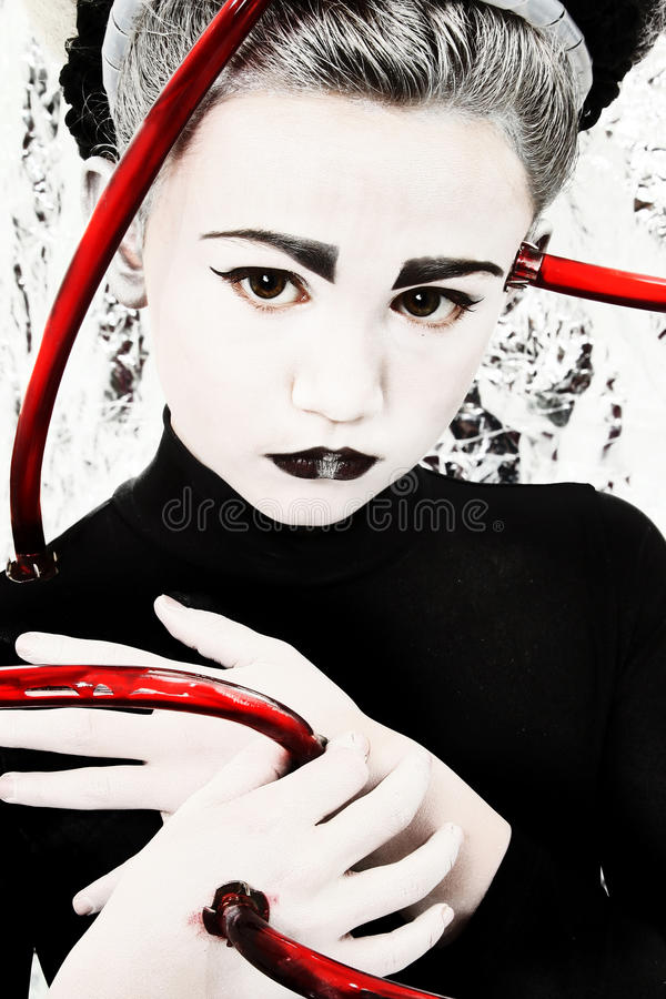 Alien Girl Child with Blood Tubes Attached stock image