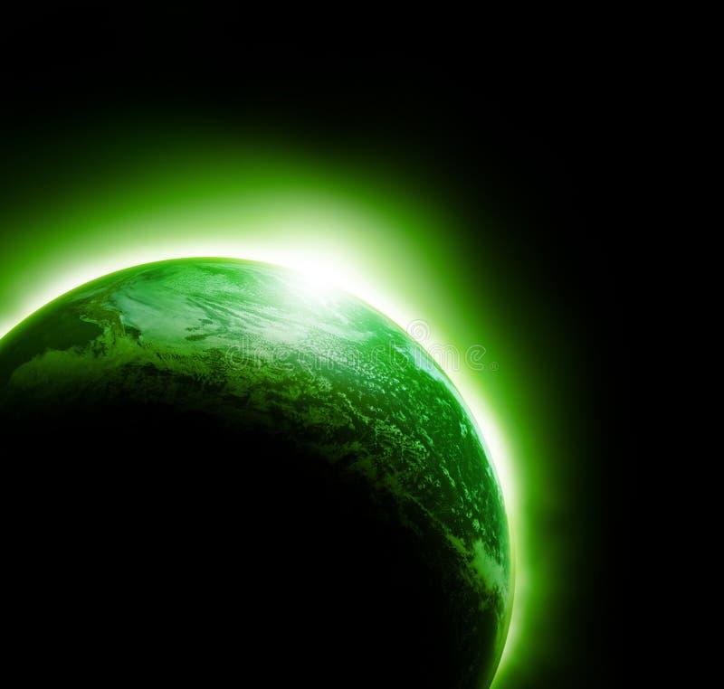 Alien green planet stock image