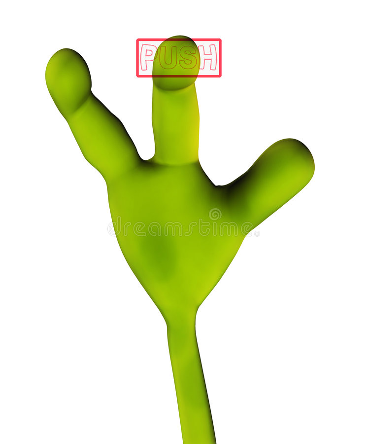 Alien Hand Pushing Button 223 Stock Image