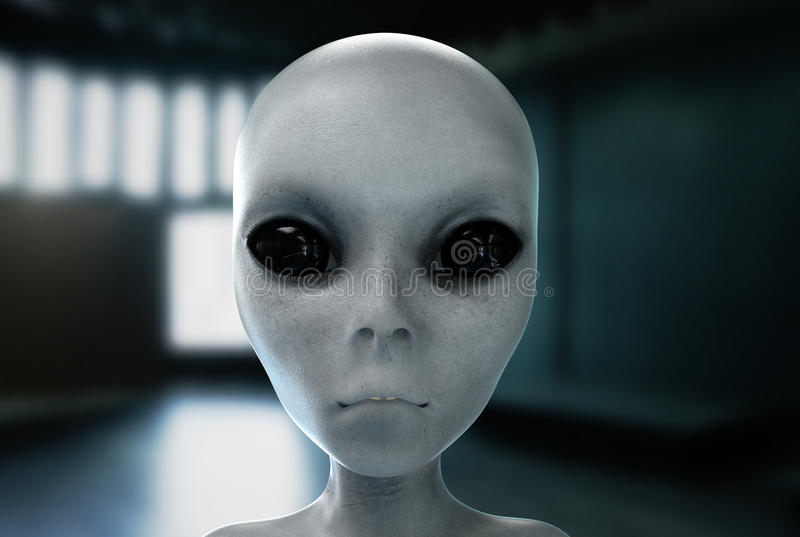 Alien head. close up. UFO concept. 3d rendering. vector illustration