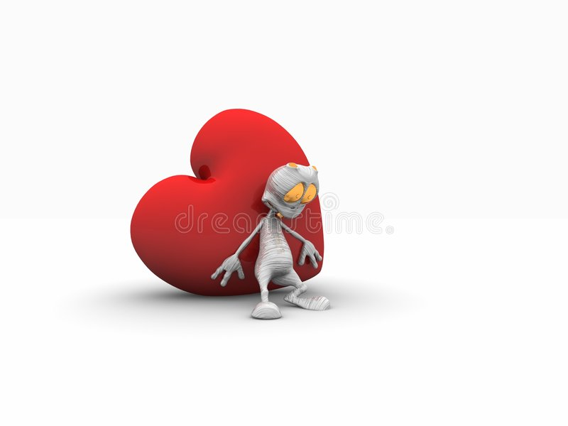 Alien and heart. 3d render of alien character and heart vector illustration